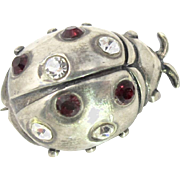 Sterling Silver Rhinestone Lady Bug Brooch Pin