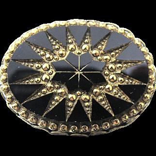 Victorian Revival Black Jet Glass Brooch, Aurum Starburst Design