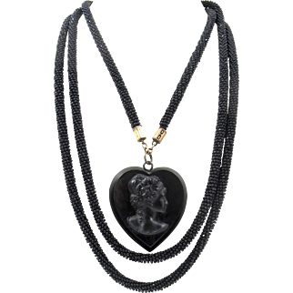 Victorian Whitby Jet Black Mourning Necklace, Black Jet Micro Bead Rope Heart Shaped Cameo Pendant