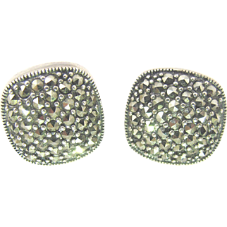 Sterling Silver Marcasite Earrings, Square Pave Set Pierced Studs