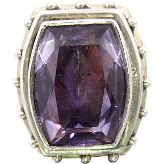 Stephen Dweck Sterling Silver Amethyst Ring, Large Statement Ring, Size 8