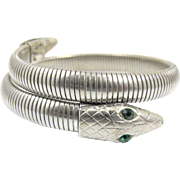 Omega Mesh Snake Bangle Bracelet, Art Deco Coiled Wrap Serpent Jewelry, Rhodium Plated Silver Metal