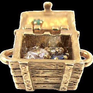 Jeweled Treasure Chest Charm Pendant, Multi Color Rhinestone Jewels