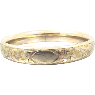 Victorian Rolled Gold Bangle Bracelet, Floral Etched Design, Yellow Gold Fill