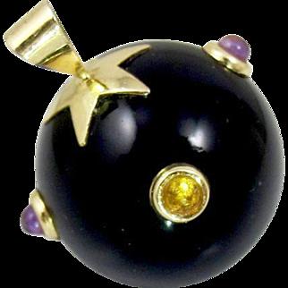 14K Onyx Gemstone Ball Pendant, Amethyst, Citrine Cabochons, Black Onyx Orb Sphere