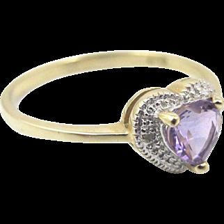 10K Amethyst Diamond Heart Ring, Pave Set Diamonds Yellow Gold Halo Ring Size 7