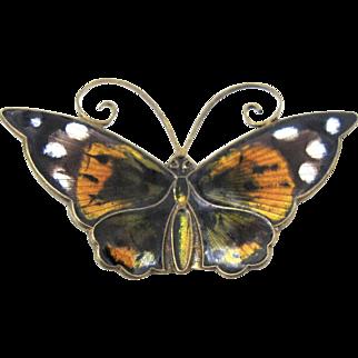David Andersen Enamel Butterfly Brooch, Large Multi Color Guilloche Enamel Butterfly DA Norway