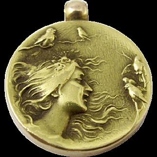 14K Art Nouveau Pendant. Solid Yellow Gold Repousse Maiden Gibson Girl Birds Monogrammed 11.7 Grams