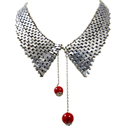 Jakob Bengel Art Deco Necklace. Machine Age Chrome Brickwork Collar Book Piece