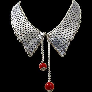 Jakob Bengel Art Deco Necklace. Machine Age Chrome Brickwork Collar Book Piece