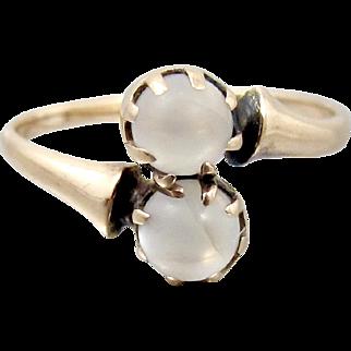 Antique Victorian 10K Moonstone Ring. Rose Gold Toi et Moi Ring