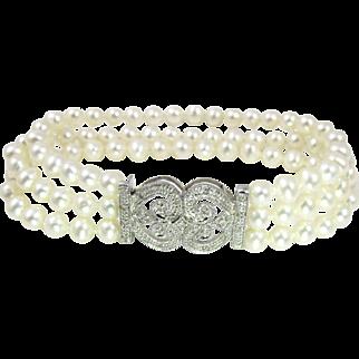 Diamond Multi Strand Freshwater Cultured Pearl Bracelet. 14K White Gold