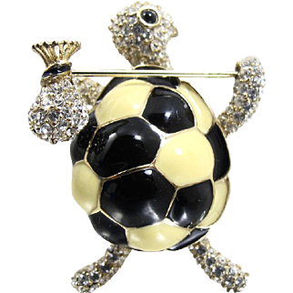 Ciner Signed HoBo Turtle Brooch Pin, Black Ivory Colored Enamel Clear Rhinestones