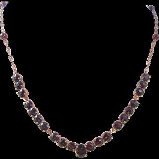 Art Deco Bohemian Garnet Necklace. Prong Set Open Back Stones