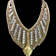 Egyptian Revival Snake Rhinestone Bib Collar Necklace