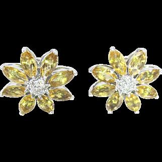 18K White Gold Citrine Flower Earrings. Omega Back Studs