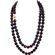 Vintage Garnet Bead Necklace. Opera Length Hand Knotted Large Beads