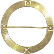 Victorian Gold Seed Pearl Circle Pin Brooch. 10K Yellow Gold