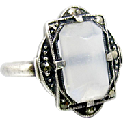 Art Deco Moonstone Ring. Sterling Silver Marcasite Moonstone Ring.