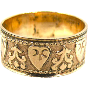 Victorian Wide Wedding Band Ring, Stamped Hearts, Cigar Band Ring, Size 6 1/2