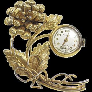 Vintage Women's Lapel Watch Brooch. Plaza Swiss Made Peony Flower Watch Pin.