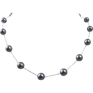 """14K White Gold Gray Freshwater Cultured Pearl Tin Cup Station Necklace. 16"""""""