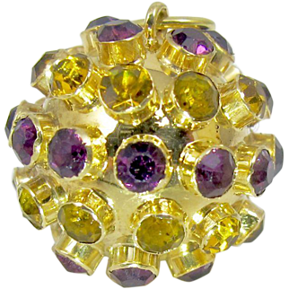 Vintage 14K Yellow Gold Gemstone Sputnik Orb Pendant. Amethyst Citrine Gemstones.