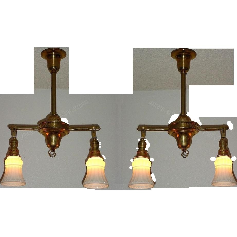 Lighting Fixtures Online: Two Antique Brass 2 Shade Lighting Fixtures. C1908 Vintage