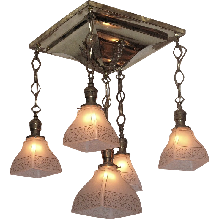 1904 Antique Shower Arts Crafts Lighting Fixture Original Vintage Light Shades