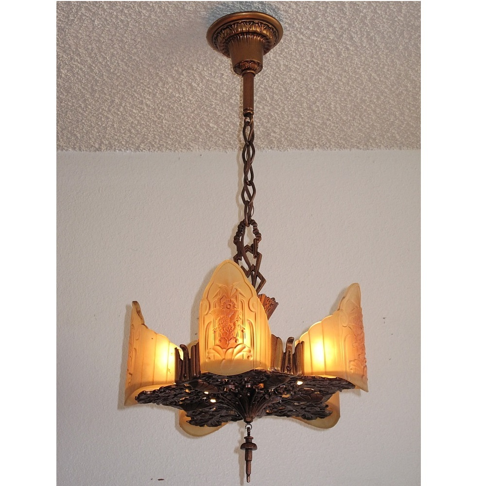 Beautiful 5 light vintage ceiling fixture in the art deco for Arts and crafts light
