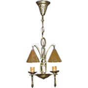 Vintage Lincoln 2 Smoke Bell Pendant Fixture From Their Bar Harbor Line