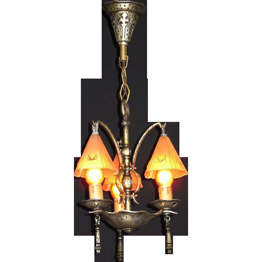 Vintage Arts Crafts 3 Smoke Bell Vintage Chandelier From