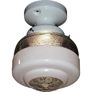 1930s Vintage Ceiling Light Fixture with a Moderne Flair