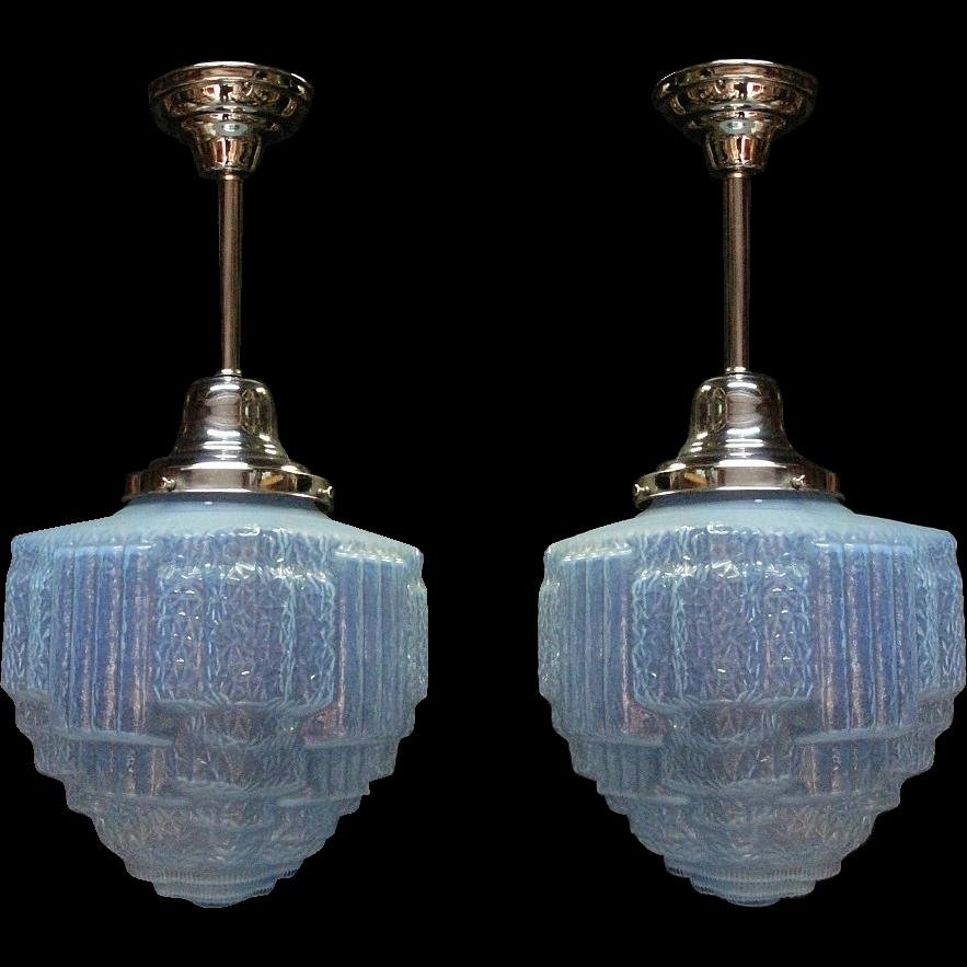 Furniture Stores Prescott Az 14 inch Vintage Opalescent Blue Ice Art Deco Ceiling Fixture from ...