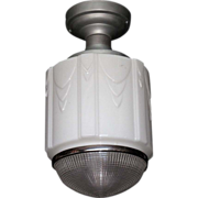 Single Only Dept. Store Fixture with Drape Pattern on Milk Glass