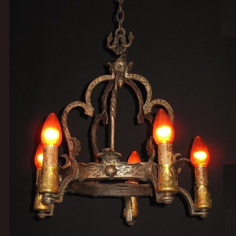 Antique Arts & Crafts Tudor Revival Style 5 Candle Chandelier