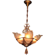 1930s Vintage Art Deco Slip Shade Lighting Chandelier