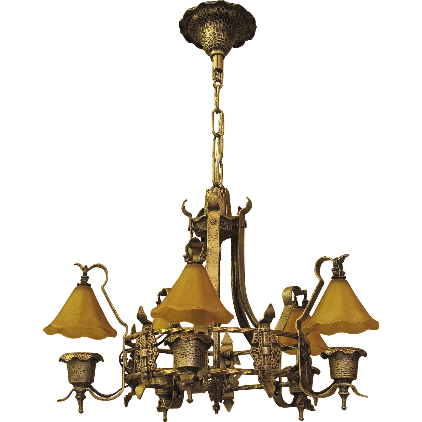 Storybook Style Vintage Ceiling Light Fixture with Original Smoke