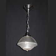 Antique 3 Piece Holophane Pendant Globe on New Polished Fitter