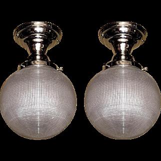 Pair Vintage 6 Inch Holophane Globe