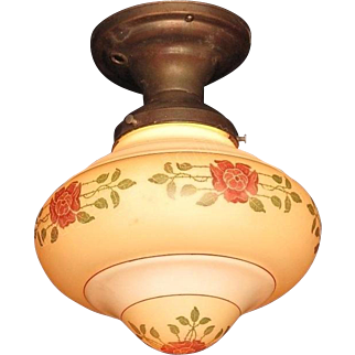 Vintage Arts & Crafts Bungalow Rose Ceiling Fixture