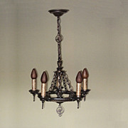 Cast Iron Revival Chandelier | Hammered Fixture