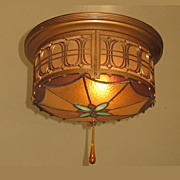 Early 20th Century Flush Mount Stained Glass Ceiling Fixture