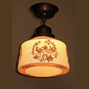 Vintage Ceiling Fixture with Spanish Revival Birds on the Globe