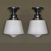 Matched Pair Mid-Century Milk Glass Ceiling Fixtures