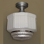 Large Vintage Schoolhouse Style Electric Ceiling Fixture