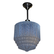 Large Vintage Blue Ice Ceiling Fixture