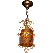 Bronze Ceiling Pendant with Crackle Glass Cylinder Shade. More than one available