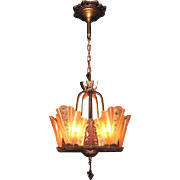 Expertly Restored Vintage 5 Slip Shade Fixture w/ Consolidated Glass Shades More than 1 available