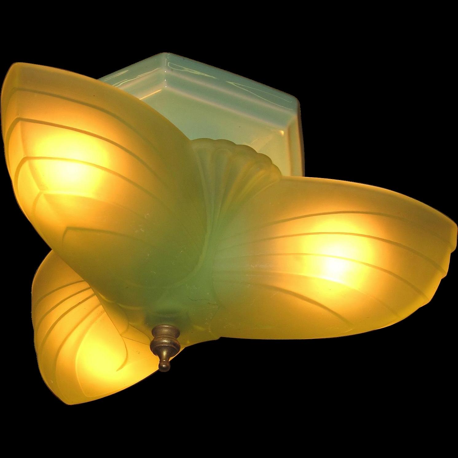Green 3 Light Flush Mount Fixture On Seafoam Green Porcelain Vintagelights Online Ruby Lane